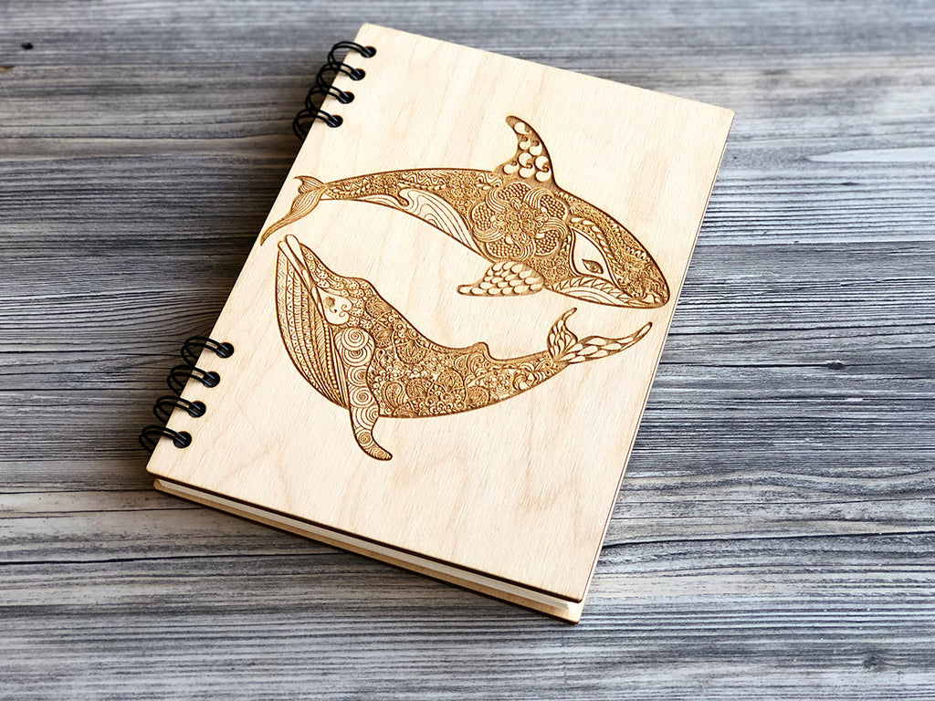 Wooden Notebook Whales Custom Journal Laser Engraved Notebook Wood Journal Spiral Notebook Gift for Her Gifts for Him Sketchbook Whale A5 A6
