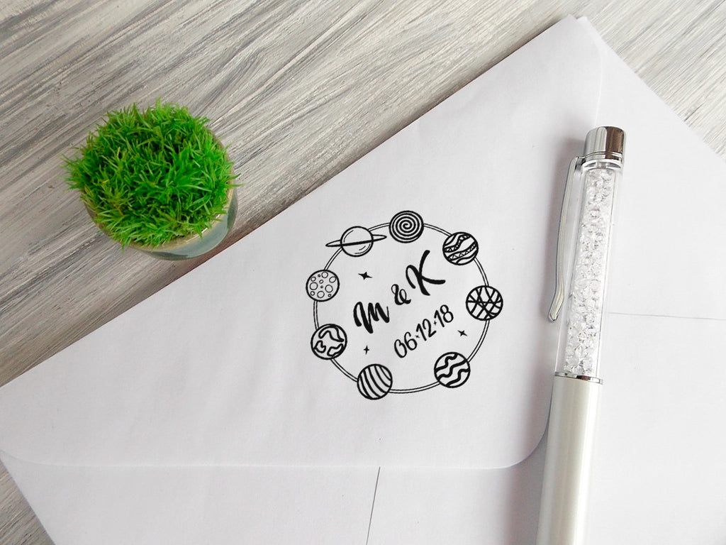 Personalized Wedding Stamp Bridal Shower Gift Custom Date Print Wedding Favors Stamp Adventure Rubber Stamp Deep Space Wedding Favor Stamp