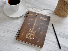 Load image into Gallery viewer, Music Notebook Wooden Journal for Him Fathers Day Gift Ideas Laser Engraved Journal Notebook Personalized Music Lover Gift Journal Diary