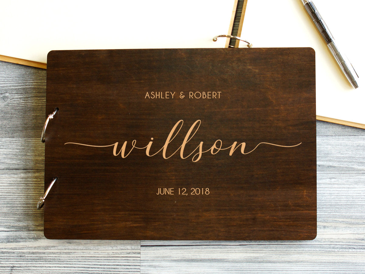 Unique Wedding Guest Book Rustic Wedding Guestbook Wood Engagement Party Guestbook Custom Made Wedding Planner Custom Engraved Guest Book