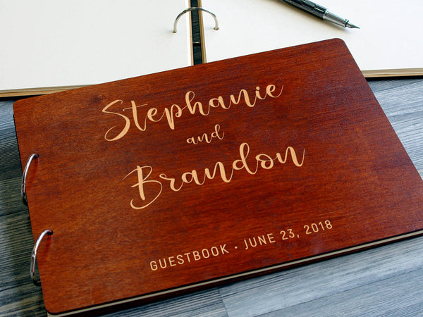 Laser Engraved Names Bride and Groom Ringed Personalized Ring Rustic Guestbook Wooden Wedding Guest Book Handmade