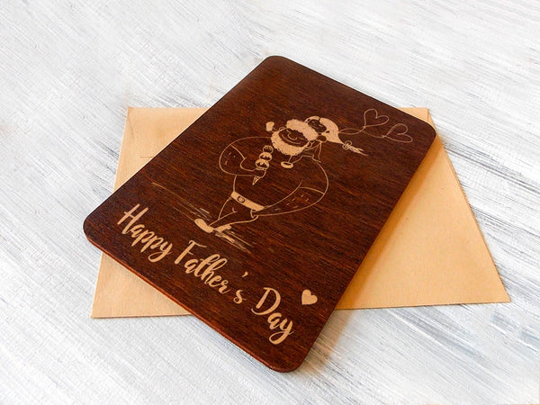 Father Gift Wooden Card, Best Dad Ever, New Dad Gift, Fathers Day Card, Gift for Dad, Gift for Father Wood Greeting Card, New Dad Card
