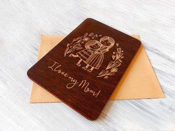 Mothers day gift wooden greeting card, Mothers day cards, gift for mom, gift for mother wooden card, happy mothers day card, best mom gift