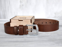 Load image into Gallery viewer, Personalized Leather Belt for Men Groom Gift from Bride Groomsmen Gift Belt Groom Gift Idea Groomsmen Gift Ideas Mens Leather Belt Brown