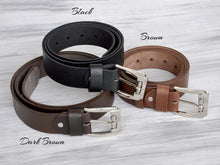Load image into Gallery viewer, Personalized Leather Belt Engagement Gift for Him 3rd Anniversary Gift for Husband Groomsmen Gift Christmas Gift for Men Custom Mens Belt