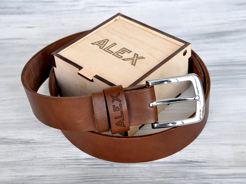 Groomsmen Gift Box Father of the Bride Gift Father of the Groom Gift Wedding Day Gifts for Him Personalized Mens Belt Custom Leather Belt