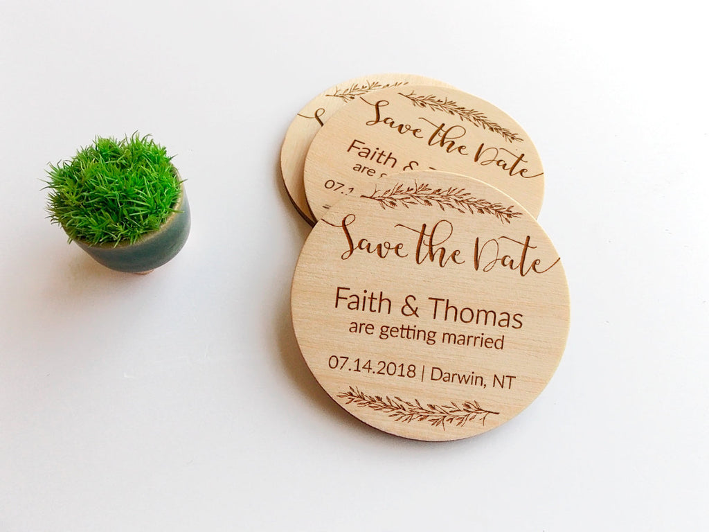 Save the Date Magnet Rustic Wedding Magnets Wood Save the Dates Custom Boho Save the Date Personalized Wedding Invites Wooden Wedding Magnet