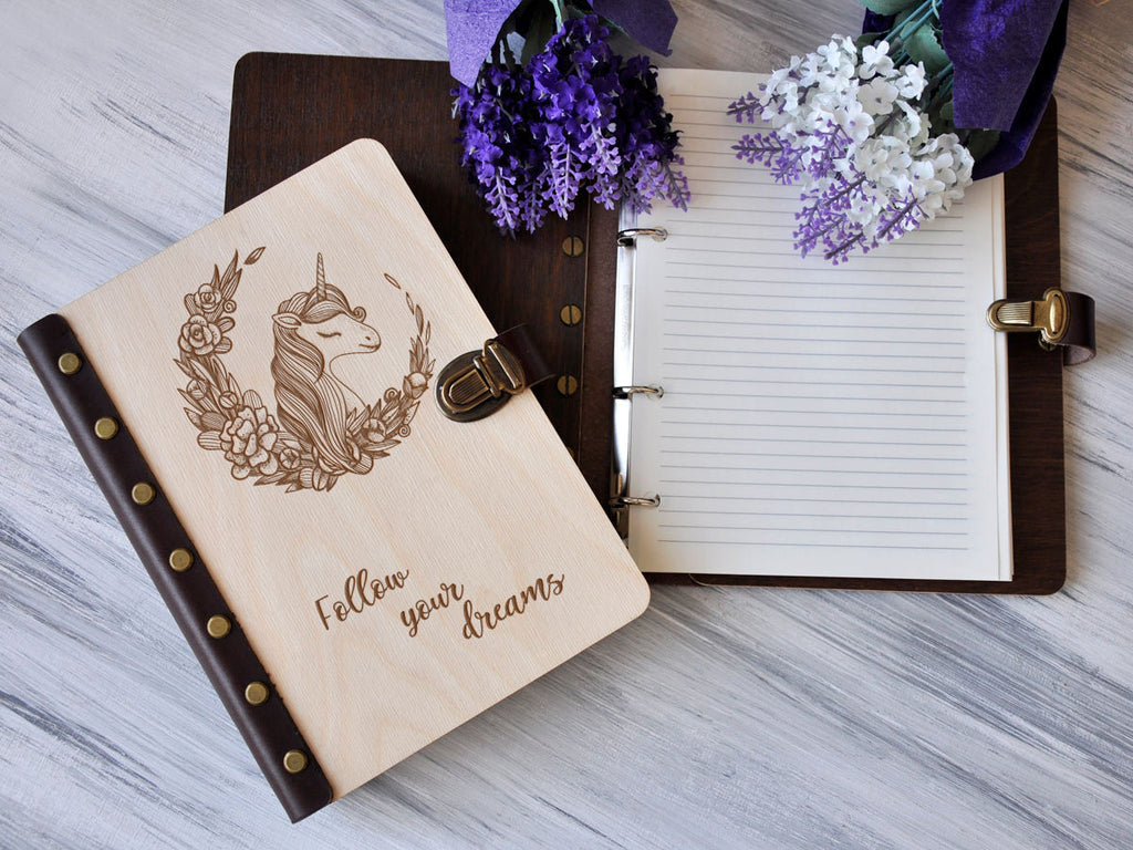Unicorn Journal Birthday Gift for Her Wooden Notebook Girl's Journal Leather Sketchbook Personalized Gift for Girlfriend Refillable Notebook
