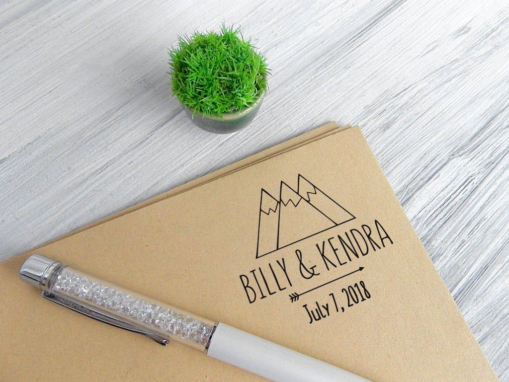 Custom stamp, adventure wedding stamp, custom logo stamp, mountains stamp, custom wedding date stamp, customized stamp, rubber stamp wedding