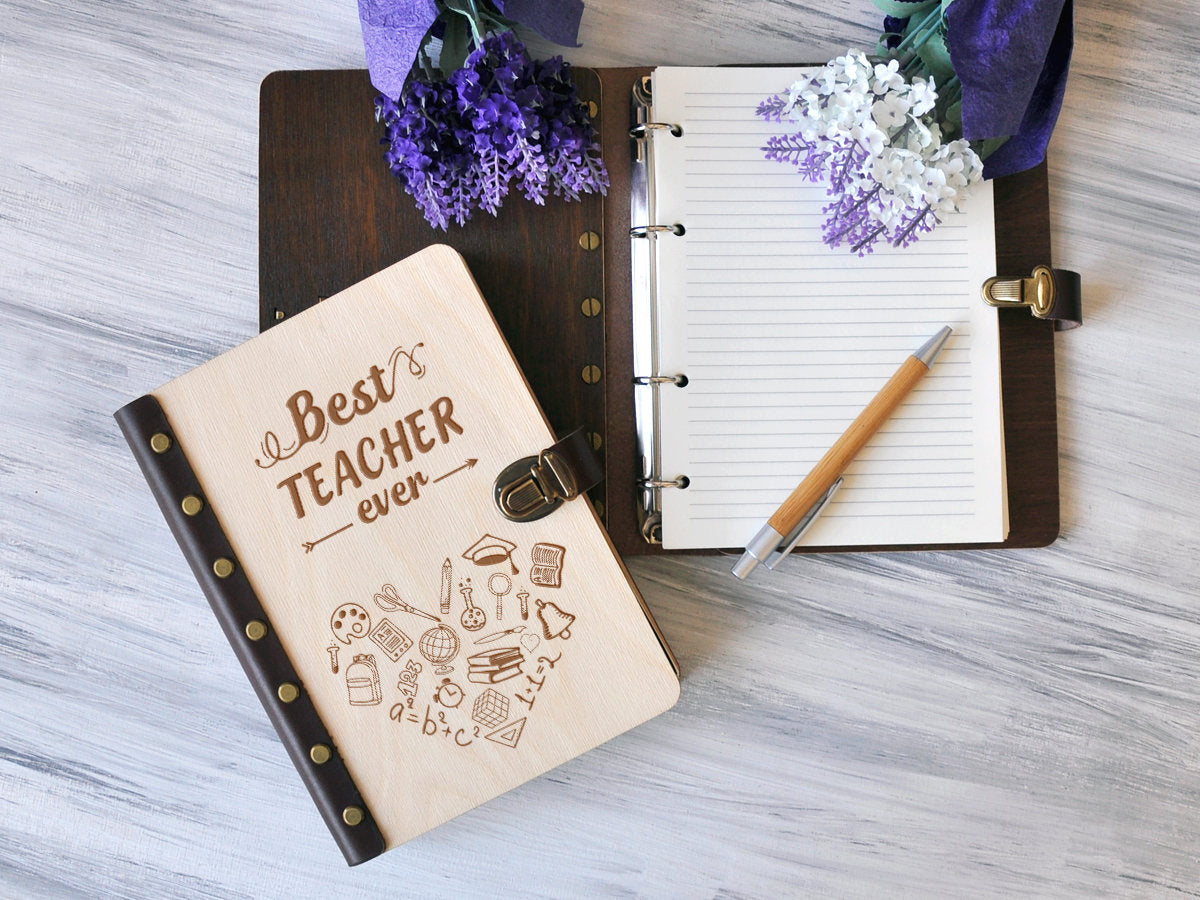 Personalized Teacher Gift Wooden Notebook School Gift Engraved Journal Graduation Gift for Teachers Custom Journal Notebook End of Year Gift
