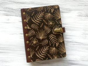 Wood Journal for Her Tropical Palm Leaves Wooden Notebook Custom Sketchbook Leather Journal A5 Personalized Refillable Notebook Travel Diary