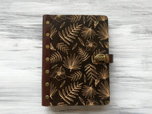 Load image into Gallery viewer, Wood Journal for Her Tropical Palm Leaves Wooden Notebook Custom Sketchbook Leather Journal A5 Personalized Refillable Notebook Travel Diary