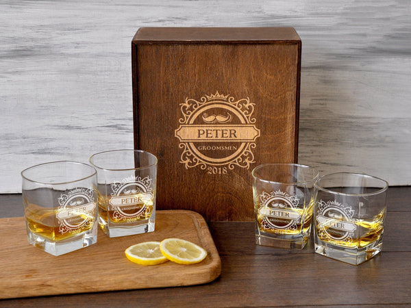 Personalized Gift for Him Engraved Whiskey Glasses Christmas Gift Whiskey Decanter Set Boyfriend Gift Etched Rocks Glasses Custom Gift Box