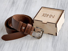 Load image into Gallery viewer, Christmas Gift for Boyfriend Anniversary Gifts Mens Leather Belt Game of Thrones Gift Mens Personalized Belt Gift for Him Father's Day Gift