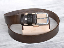 Load image into Gallery viewer, Christmas Gifts for Him Dad Birthday Gifts Husband Christmas Gift Dad Gifts Personalized Belt Mens Leather Belt Brown Leather Belt Mens Belt