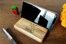 Load image into Gallery viewer, Phone Holder Wood Iphone Stand Fathers Day Gift Personalized Gift for Husband Gift for Dad Birthday Gift for Men Christmas Gifts for Him