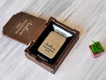 Load image into Gallery viewer, Personalized Zippo Lighter Groomsmen Gift Box Groomsman Gifts for Men Wedding Gift Best Man Gift Engraved Lighter Usher Gifts Engraved Zippo