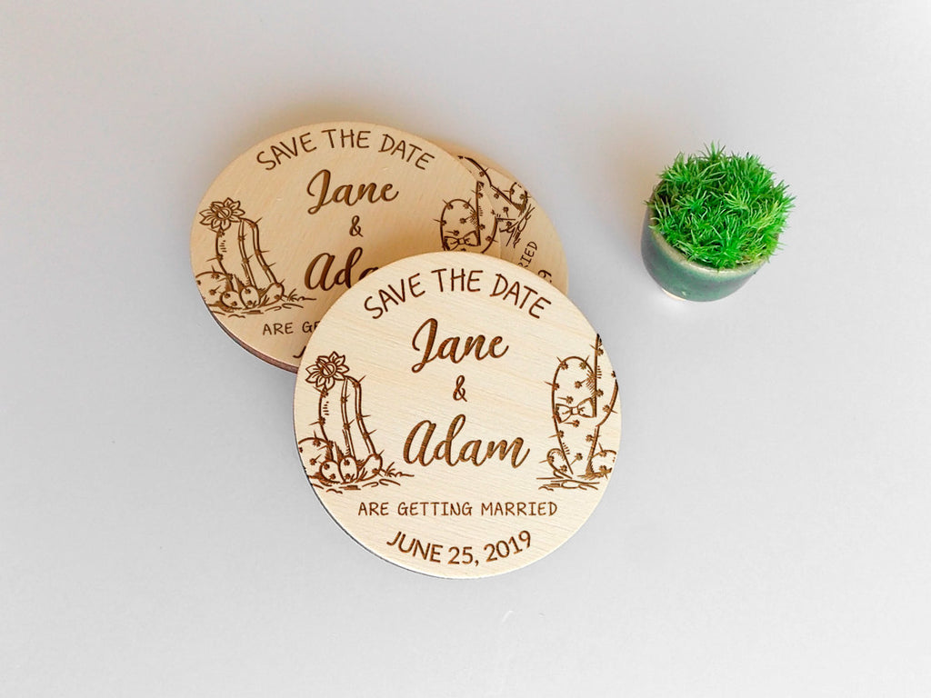 Desert Wedding Save the Date Magnet, Personalized Cactus Save the Date, Rustic Wedding Magnet, Wood Wedding Magnet, Desert Invitation Magnet