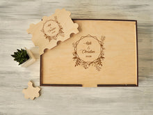 Load image into Gallery viewer, Wedding Guestbook Alternative Guest Book Rustic Guest Book Jigsaw Puzzles Wedding Gift Guestbook Sign Custom Wood Wedding Guest Book Puzzle