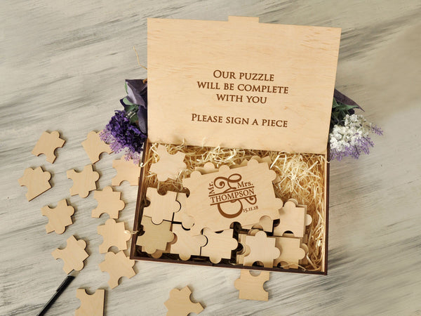 Wood Wedding Guest Book Alternative Puzzle Guest Book Mr and Mrs Gift Ideas Custom Guest Book Engagement Gift Rustic Guestbook Wedding Gift