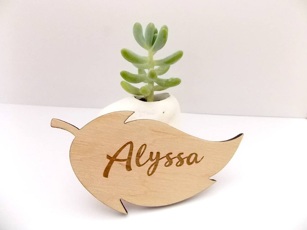 Wooden Place Cards Laser Cut Names Leaf Place Card Personalized Wooden Name Wedding Place Name Place Cards Escort Cards Leaf Table Decor