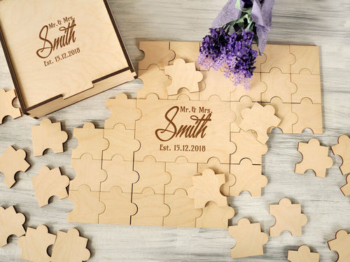 Unique Wedding Guest Book Alternative Guestbook Custom Wedding Puzzle Mr & Mrs Wedding Jigsaw Puzzle Wood Sign Guestbook Anniversary Gift