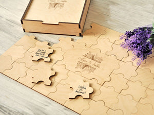 Puzzles Guestbook Rustic Wedding Guest book Alternative Wedding Guest Book Puzzle Engagement Guest Book Wood Custom Wedding Gift for Couple