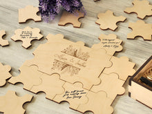 Load image into Gallery viewer, Puzzles Guestbook Rustic Wedding Guest book Alternative Wedding Guest Book Puzzle Engagement Guest Book Wood Custom Wedding Gift for Couple