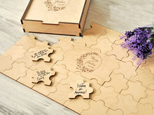 Load image into Gallery viewer, Custom Wedding Guest Book Alternative Rustic Guestbook Puzzle Guest Book Wreath Personalized Engraved Wood Guest Book Ideas Wedding Sign