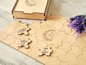 Custom Wedding Guest Book Alternative Rustic Guestbook Puzzle Guest Book Wreath Personalized Engraved Wood Guest Book Ideas Wedding Sign