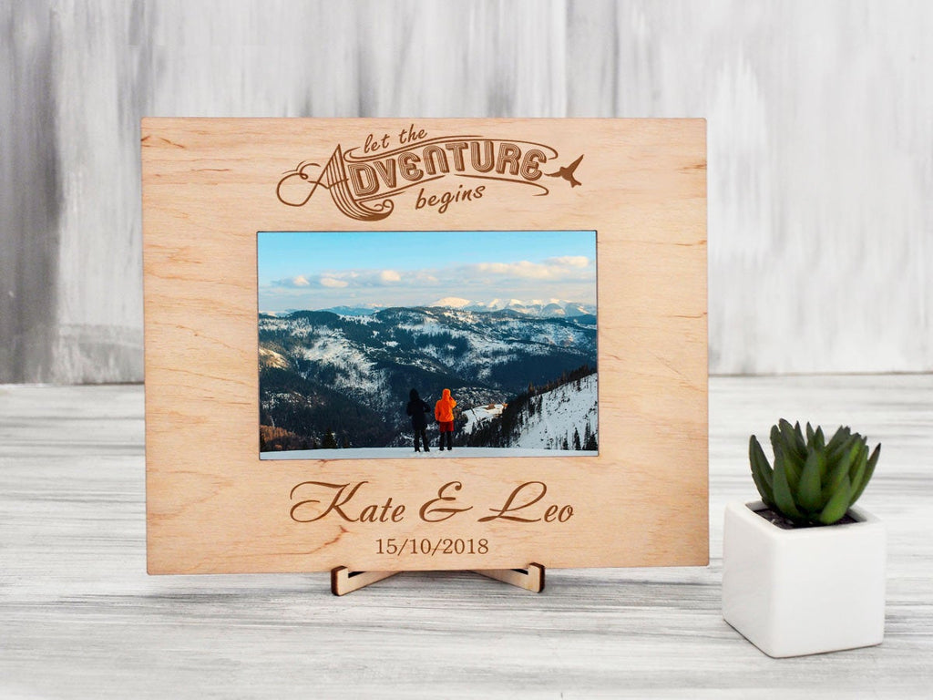 Personalized Wedding Picture Frame Let the Adventure Begins Custom Photo Frame Wedding Gift for Couple Wood Frame Bride & Groom Rustic Frame