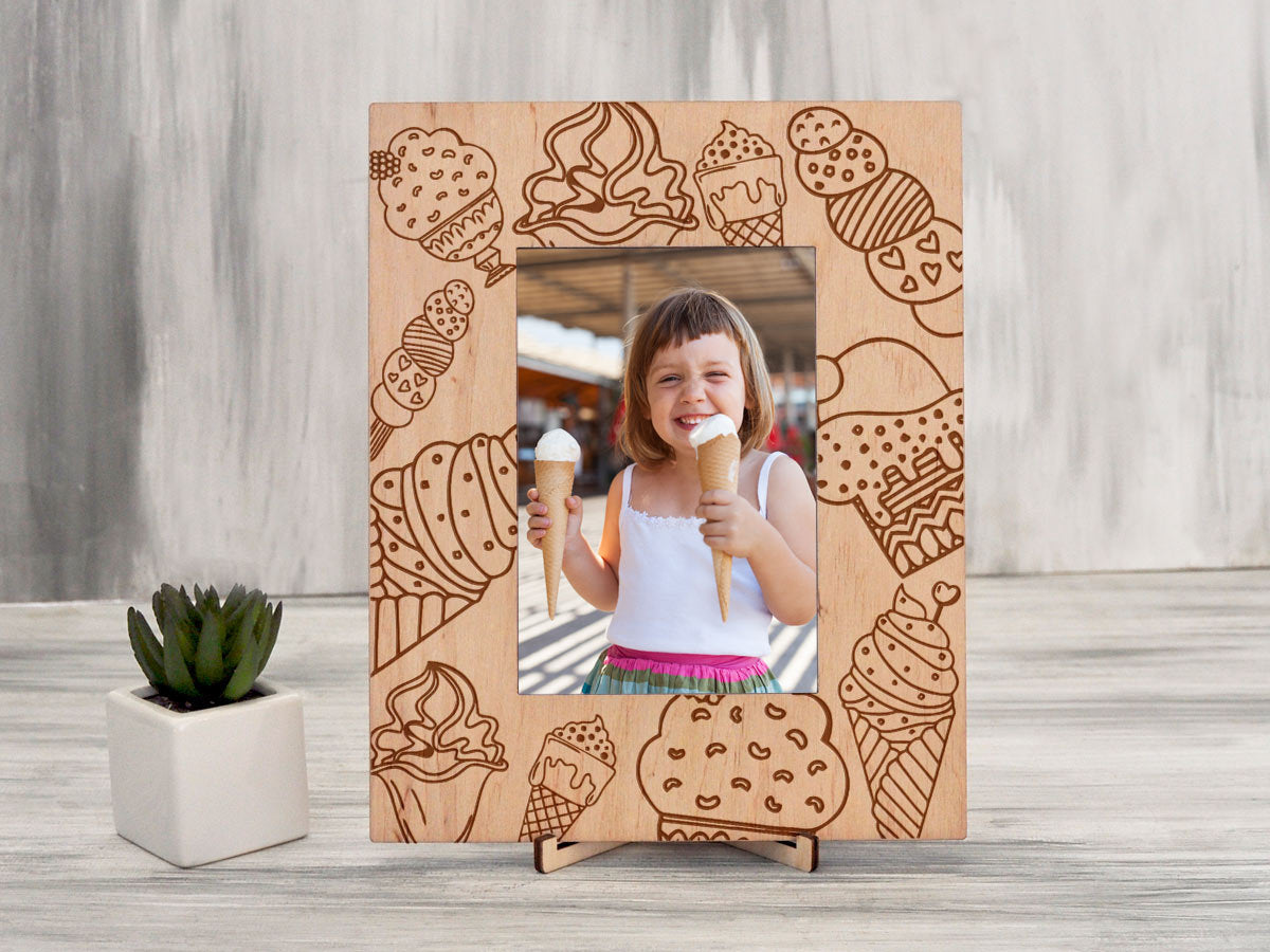 Wood Picture Frame Ice Cream Party Gift Housewarming Gift Engraved Photo Frame Funny Gift Best Friend Gift Rustic Photo Frame Christmas Gift