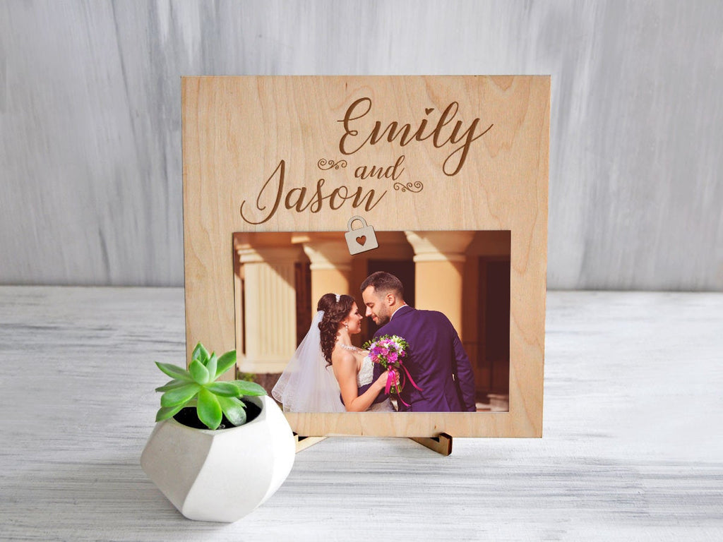 Wedding Picture Clip Frame Custom Photo Frame Anniversary Gift Engraved Frame Rustic Frame Wood Frame Personalized Wedding Gift for Couple