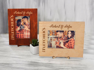 Rustic Picture Frame Wood Photo Frame Anniversary Gift for Couple Custom Frame Wedding Gift Christmas Family Gift Engraved Rustic Home Decor