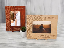 Load image into Gallery viewer, Personalized Picture Frame Tree Engagement Gift Honeymoon Photo Frame Wedding Frame Gift for Parents Rustic Frame Wood Vertical 5x7 Frame
