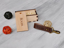 Load image into Gallery viewer, Anniversary Gift for Husband, Birthday Gift for Men, Custom Gift for Dad, Boyfriend Present, Dad Gifts, Mens Gift Ideas, Leather Keychain