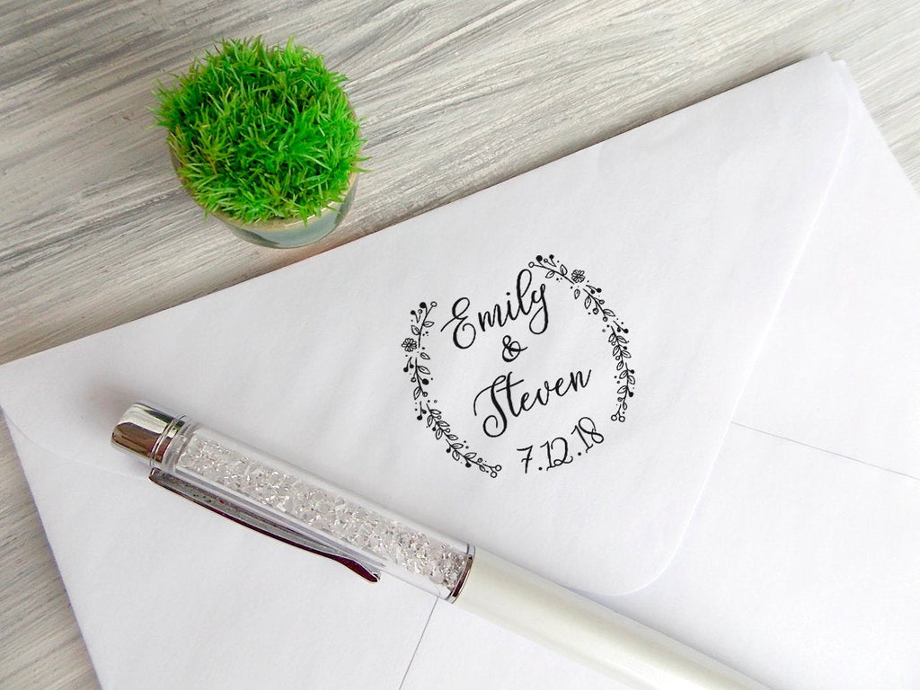 Personalized Wedding Stamp, Wedding Favors Stamp, Wedding Date Stamp, Custom Stamp, Rustic Stamp, Calligraphy Stamp, Bridal Shower Gift