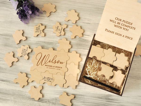Alternative Wedding Guestbook Wood Guest Book Puzzle Unique Guestbook Sign Canvas Wedding Guest Book Jigsaw Puzzles Unique Gift for Couple
