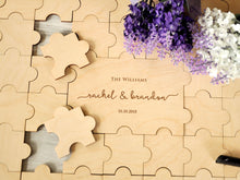 Load image into Gallery viewer, Rustic Wedding Guest Book Alternative Custom Guest Book Jigsaw Puzzles Rustic Guest Book Wedding Sign Canvas Guestbook Wood Wedding Gift