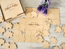 Load image into Gallery viewer, Alternative Wedding Guest Book Puzzle Custom Wedding Guestbook Puzzles Rustic Guestbook Alternative Wedding Calligraphy Puzzle Personalized