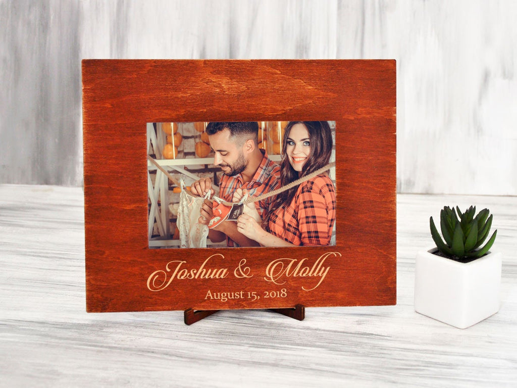 Personalized Picture Frame Custom Photo Frames Rustic Wood Frame Gift for Family Wedding Picture Frame Engraved Photo Frame Engagement Gift