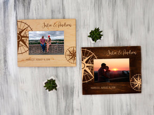Custom Picture Frame Personalized Photo Frame Traveler Gift Compass Honeymoon Gift for Couple Wood Frame Housewarming Gift Engraved Frame