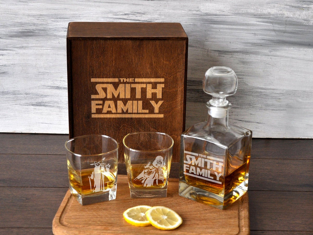 Star Wars Gift for Him, Star Wars Whiskey Decanter Set, Etched Whiskey Glasses, Star Wars Groomsmen Gift Box, Custom Star Wars Wedding Gift