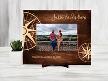 Load image into Gallery viewer, Custom Picture Frame Personalized Photo Frame Traveler Gift Compass Honeymoon Gift for Couple Wood Frame Housewarming Gift Engraved Frame