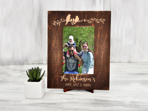Personalized Photo Frame Wood Picture Frame Couple Christmas Gift Rustic Photo Frame Housewarming Gift Custom Family Gift Rustic Home Decor