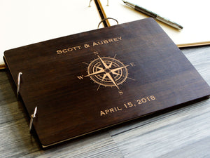 Wedding Guest Book Compass Custom Guestbook Nautical Wedding Decor Summer Wedding Guestbook Wooden Guest Book Wedding Album Memory Book