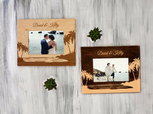 Load image into Gallery viewer, Tropical Wedding Photo Frame Destination Wedding Gift Personalized Picture Frame Custom Wood Palms Frame Gift for Couple Beach Wedding Frame