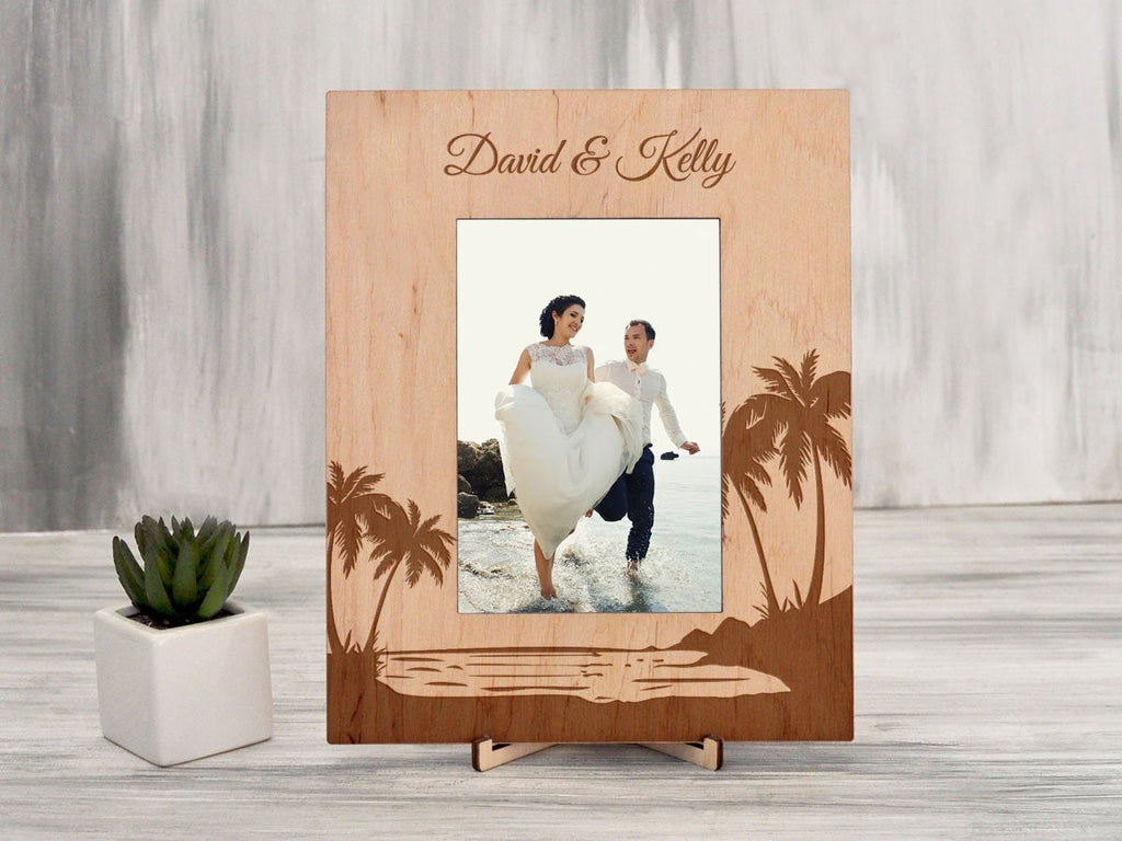 Tropical Wedding Photo Frame Destination Wedding Gift Personalized Picture Frame Custom Wood Palms Frame Gift for Couple Beach Wedding Frame