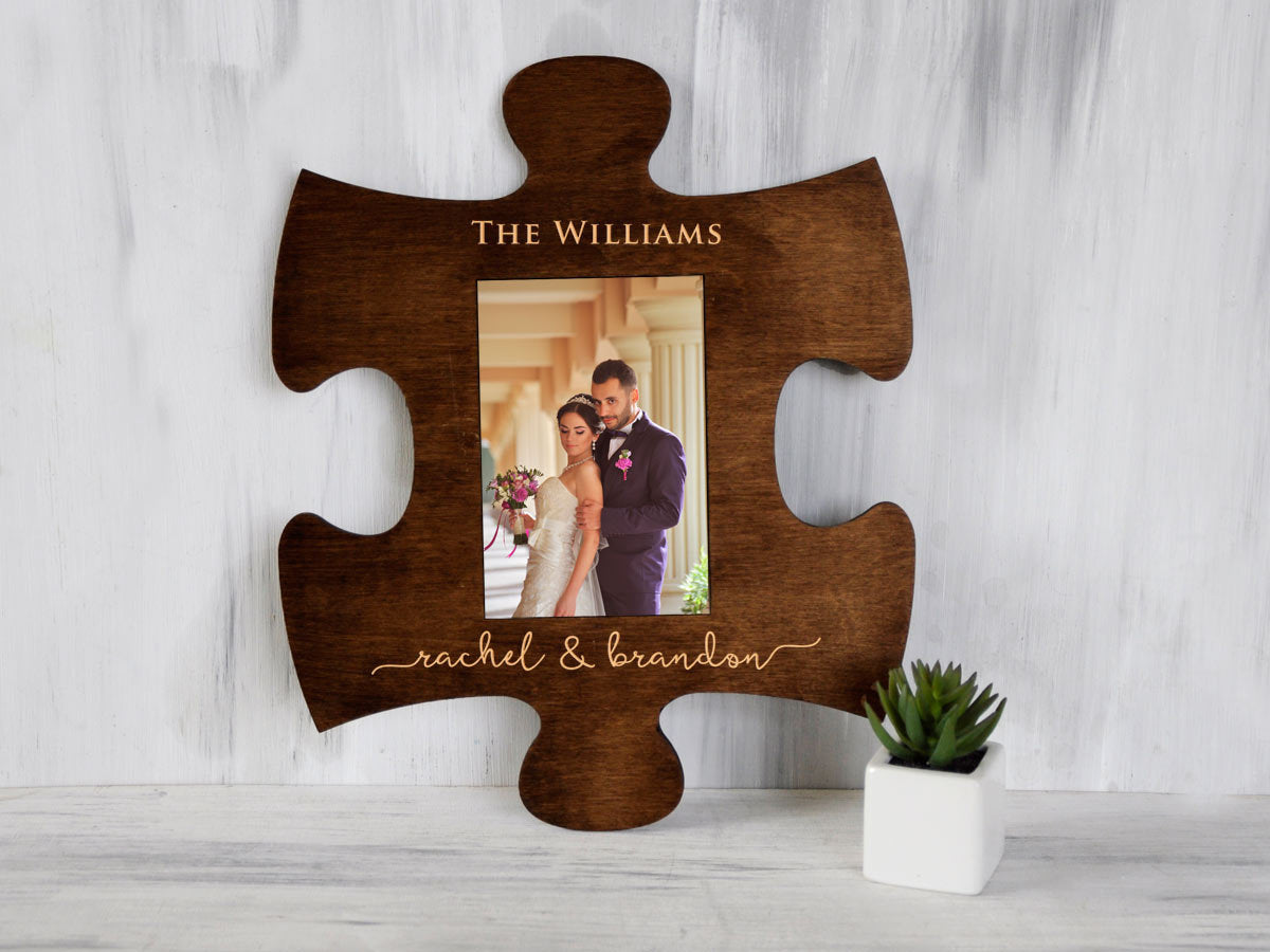 Engraved Puzzle Frame Wedding Party Gift Personalized Photo Frame 4x6 Engagement Gift for Couple Custom Picture Frame Family Christmas Gift
