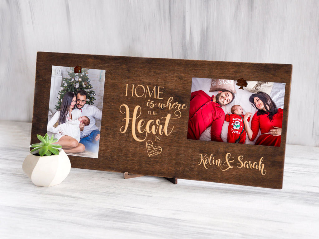 Personalized Picture Frame Home is Where Heart is Christmas Gift Ideas 4x6 Wood Photo Display Housewarming Gift Family Picture Clip Frame